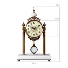 Load image into Gallery viewer, Luxury Retro Table Clock Vintage Classical Pendulum Desk Clock Decorative Table Clock Metal Silent Clock On The Desk Living Room