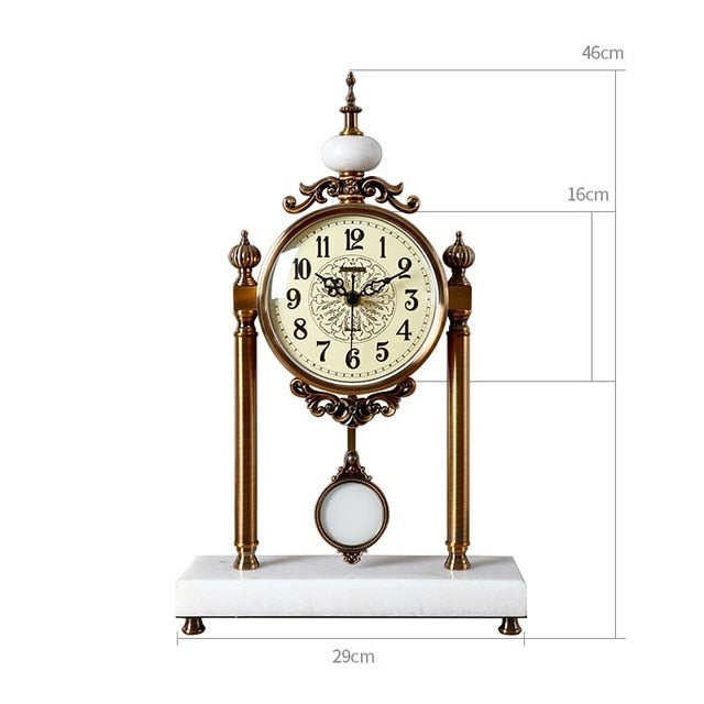 Luxury Retro Table Clock Vintage Classical Pendulum Desk Clock Decorative Table Clock Metal Silent Clock On The Desk Living Room