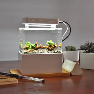 Mini Plastic Fish Tank Portable Desktop Aquarium Betta Fish Bowl with Water Filtration LED & Quiet Air Pump for Decor