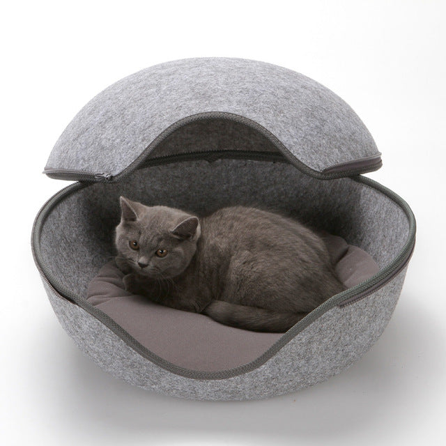 Egg Shape Dog Cat Beds Cat Sleeping Bag Zipper Felt Cloth Winter Warm Pet House All Around Cat Nest With Detachable Cushion Mats