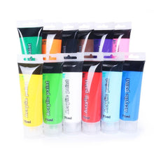 Load image into Gallery viewer, 75 ml Acrylic Paint Set Colors Fabric Paint for Clothing Textile nail fiber pigment acrylic paints for painting big Art supplies