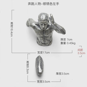 Creative Sculpture Running Man Racing Against Time Figurine Wall Decoration Emboss 3D Figures Home Decor Wall Hanging Ornament