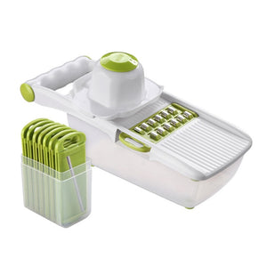 Kitchen Manual Vegetable Cutter Slicer 8 One Stainless Steel Interchangeable Blades Mandoline Potato Peeler Carrot Grater Dicer