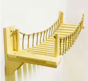 Roped Cat Bridge Climbing Wall Wood Step Pet Cat Tree Tower House Kitten Bed Sisal Scratching Post Jumping bridge Pet Furniture