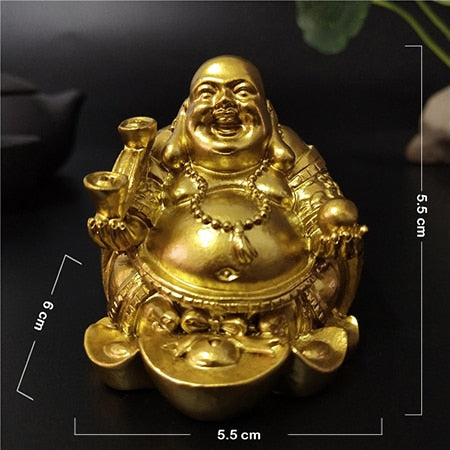 Gold Laughing Buddha Statue Chinese Feng Shui Money Maitreya Buddha Sculpture Figurines For Home Garden Decoration Statues