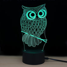 Load image into Gallery viewer, 3D LED Night Light Owl with 7 Colors Light for Home Decoration Lamp Amazing Visualization Illusion Night Light Gift