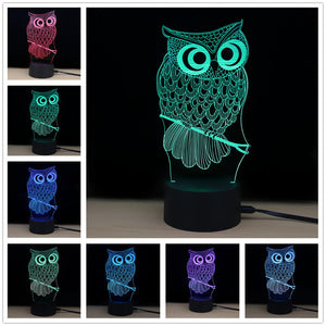 3D LED Night Light Owl with 7 Colors Light for Home Decoration Lamp Amazing Visualization Illusion Night Light Gift