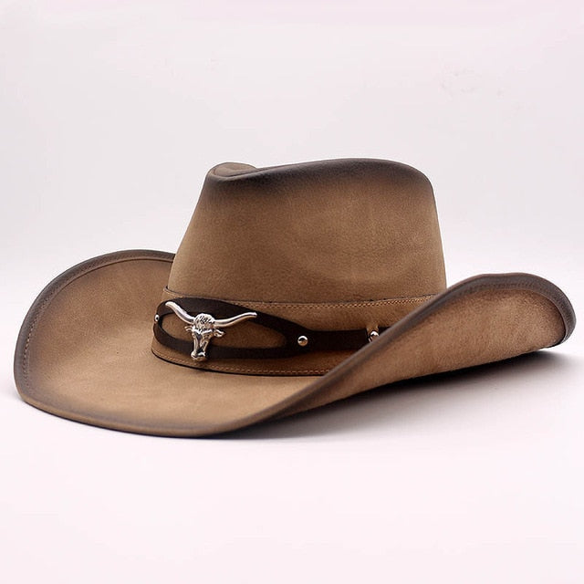 Top Quality West Cowboy Hat Fashion Faux Leather Metal Bull Head Decoration Sombrero Western Men Women Cap