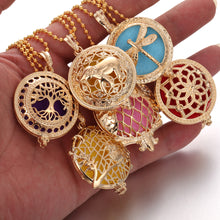 Load image into Gallery viewer, Vintage Gold Bronze Tree of Life Lockets Aroma Diffuses Oil Necklace Pendant Essential Oil Diffuser Perfume Necklace