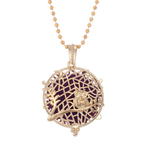 Vintage Gold Bronze Tree of Life Lockets Aroma Diffuses Oil Necklace Pendant Essential Oil Diffuser Perfume Necklace