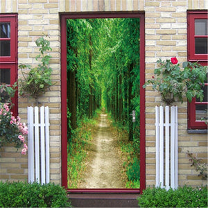 DIY Self-adhesive Natural Scenery Door Wallpaper Home Decor Waterproof Removable Poster Stickers on the Doors Wall Decal