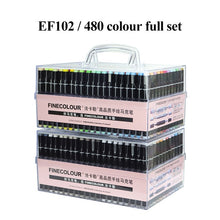 Load image into Gallery viewer, Finecolour Art Marker/Plastic Portable Hard Box Pen EF100/101/102/103 160/240/480 Colors Double-Headed Brush Alcohol Oily Marker