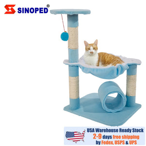 "【US Warehouse】[M51 28"" Stable Cute Sisal Cat Climb Holder Cat Tower Lamb Blue USA Free shipping"