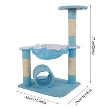 "Load image into Gallery viewer, 【US Warehouse】[M51 28"" Stable Cute Sisal Cat Climb Holder Cat Tower Lamb Blue USA Free shipping"