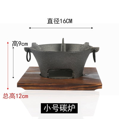 Black Cast Iron charcoal carbon barbecue stove BBQ oven roast meat seafood Japanese Korean health grill wooden tray set