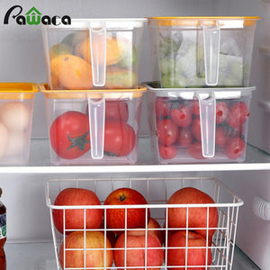 Refrigerator Organizer Food Storage Container with Lid Handle Fresh-Keeping Box Case Fridge Reusable Crisper Storage for Kitchen