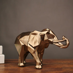 Abstract Gold Elephant Statue Resin Fashion Ornaments Home Decoration Accessories Gift Geometric Elephant Sculpture