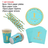 Birthday Disposable Tableware Set Pink Blue Paper Plates Paper Cups forJungle Party Wedding Supplies Birthday Party Cake Plates