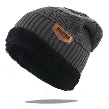 Load image into Gallery viewer, Fashion warm winter hats with thick wool inside bone skullies knitted beanies men women hip hop ski cap all matched