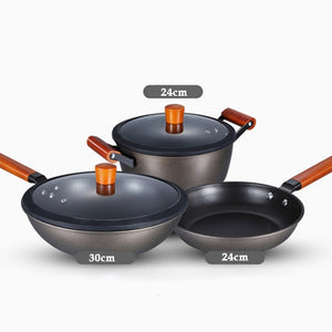 Kitchen Classic Maifan Stone Non-stick Cookware Set Household Food Grade Coated Frying Pan. Soup Pot. Frying Pan Three-piece
