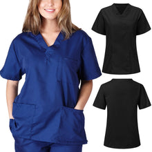 Load image into Gallery viewer, Men Women Blouse Short Sleeve V-neck Nursing Uniform Blouse Scrub Tops With Pocket Loose Shirt Plus Size Work Wear Uniform #R20