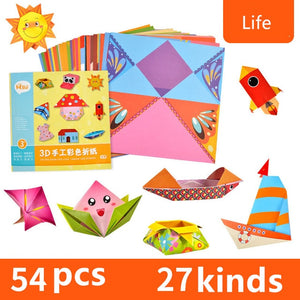 54pcs/set Cartoon Pattern Home Origami Kingergarden Art Craft DIY Educational Toy Paper Double Sided Creativity Toys for Kids