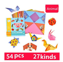 Load image into Gallery viewer, 54pcs/set Cartoon Pattern Home Origami Kingergarden Art Craft DIY Educational Toy Paper Double Sided Creativity Toys for Kids