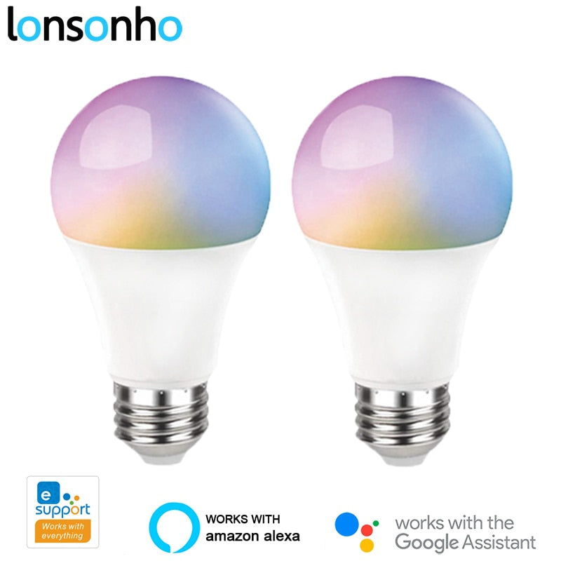 2PCS Wifi Smart Light Bulb Led Lamp E27 10W RGB+CW Dimmable Timer Wireless Remote Control Alexa Google Home