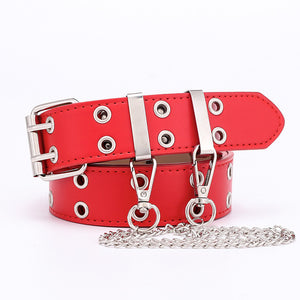 Women Teen Punk Chain Fashion Belt Adjustable Double/Single Row Hole Eyelet Waistband with Eyelet Chain Decorative Belts 2020 New