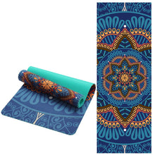 Load image into Gallery viewer, 6 MM Lotus Pattern Suede TPE Yoga Mat Pad Non-slip Slimming Exercise Fitness Gymnastics Mat Body Building Esterilla Pilates