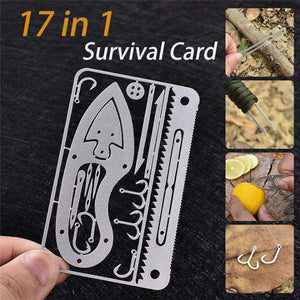 New 17 in 1 Fishing Gear Hook Card Outdoor EDC Tools Outdoor Camping Equipment Emergency Supplies Multifunctional Survival Tools