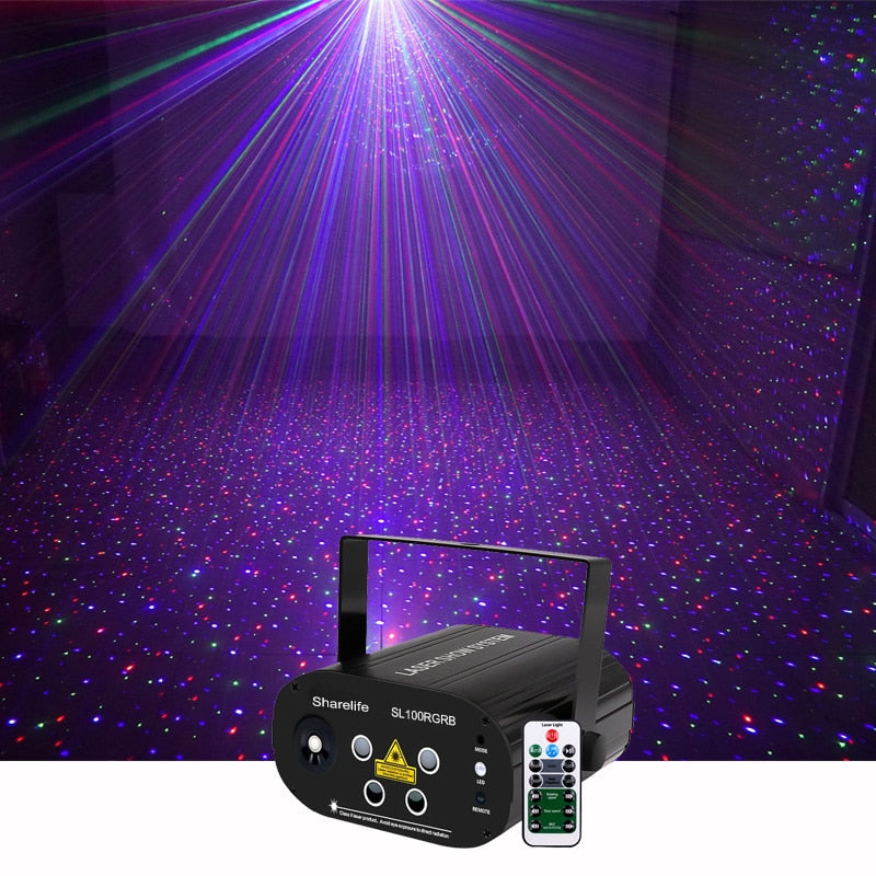 Mini DJ Star Galaxy RGB Deluxe Laser Projector Light Remote Home Party Show Wedding Stage Lighting Effect SL100RGRB