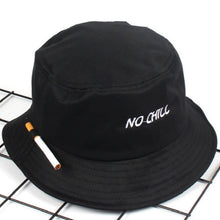 Load image into Gallery viewer, Fashion Embroidery NO CHILL Bucket Hat Hip Hop Beach Women Panama Outdoor Sports Flat Top Fishing Men Cap Fisherman Sun Hat Bob