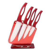 "Load image into Gallery viewer, Home ceramic knife set red handle white blade 3"" 4"" 5"" kitchen knives high sharp kitchenware cooking tools beautiful gift"