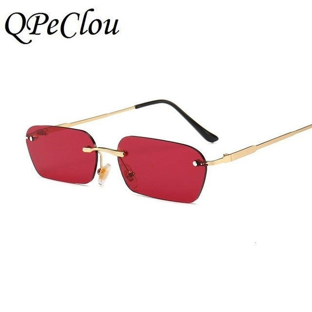 QPeClou New Rimless Metal Square sunglasses Women Frame-less Small Color Sun Glasses Ladies
