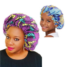 Load image into Gallery viewer, Extra Large Double Layer Parent-child Sleep Cap Adjustable African Print Ankara Satin Bonnet Festival Cap Turban Hat Nightcap