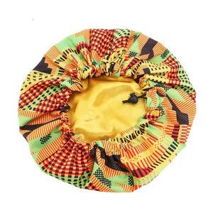 Extra Large Double Layer Parent-child Sleep Cap Adjustable African Print Ankara Satin Bonnet Festival Cap Turban Hat Nightcap
