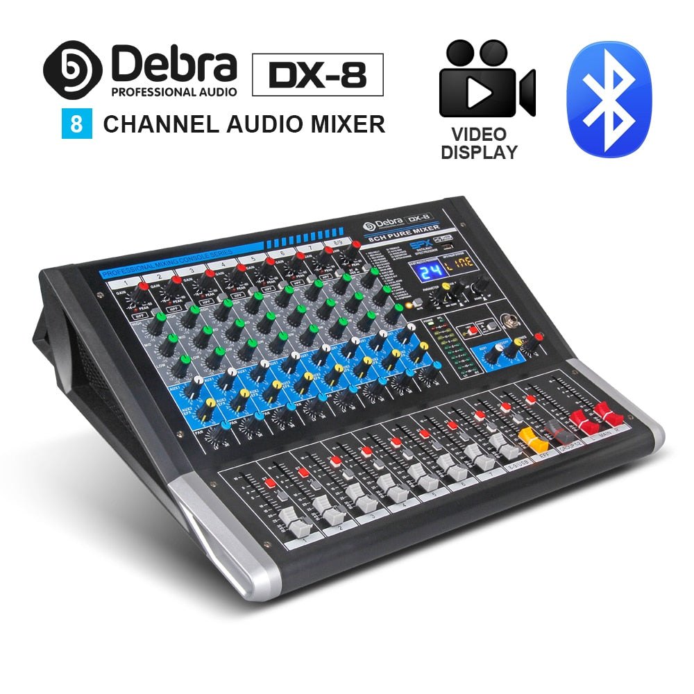 Audio DX-8 8-Channel Audio Mixer dj controller Sound Board with 24 DSP Effect USB  Bluetooth XLR Jack Aux Input