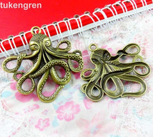 Load image into Gallery viewer, 10pcs Octopus Charms DIY Jewelry Making Pendant Fit Bracelets Necklaces  Handmade Crafts Antique Silver Plated Bronze Charm