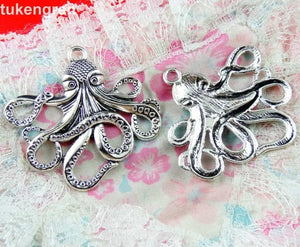 10pcs Octopus Charms DIY Jewelry Making Pendant Fit Bracelets Necklaces  Handmade Crafts Antique Silver Plated Bronze Charm
