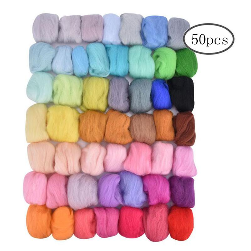 36/50 Colors Wool Felt Roving Wool Felting Tool Kit Fiber Material with Felt Needle Set Weaving Needlework Spinning Craft Kits