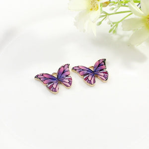 10pcs Color Printed Alloy Butterfly Pendant DIY Craft Supplies Materials Earring Necklaces Jewelry Accessory Decoration Supplies