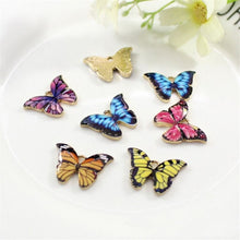 Load image into Gallery viewer, 10pcs Color Printed Alloy Butterfly Pendant DIY Craft Supplies Materials Earring Necklaces Jewelry Accessory Decoration Supplies