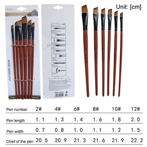 Art Model Paint Nylon Hair Acrylic Oil Watercolor Drawing Art Supplies Brown 6 Pcs Painting Craft Artist Paint Brushes Set