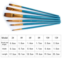 Load image into Gallery viewer, Art Model Paint Nylon Hair Acrylic Oil Watercolor Drawing Art Supplies Brown 6 Pcs Painting Craft Artist Paint Brushes Set