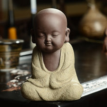 Load image into Gallery viewer, Buddha statues small monk color sand ceramic home club geomantic decoration Purple Sand Figurines Tea Pet