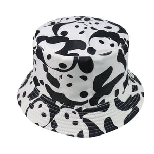 Moo Print Reversible Black White Cow Pattern Bucket Hats Fisherman Caps For Women Summer