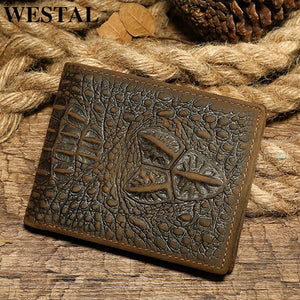 Men's wallet genuine leather purse for men vingate crocodile pattern wallet short coin purse wallet clutch money bag 7001