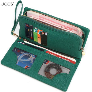 JCCS Design Wallet Fashion Women's Day Clutch Genuine Leather Handbags Coin Purse Clutch Wrist Bags  iphone Case
