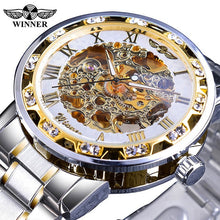 Load image into Gallery viewer, Transparent Fashion Diamond Luminous Gear Movement Royal Design Men Top Brand Luxury Male Mechanical Skeleton Wrist Watch